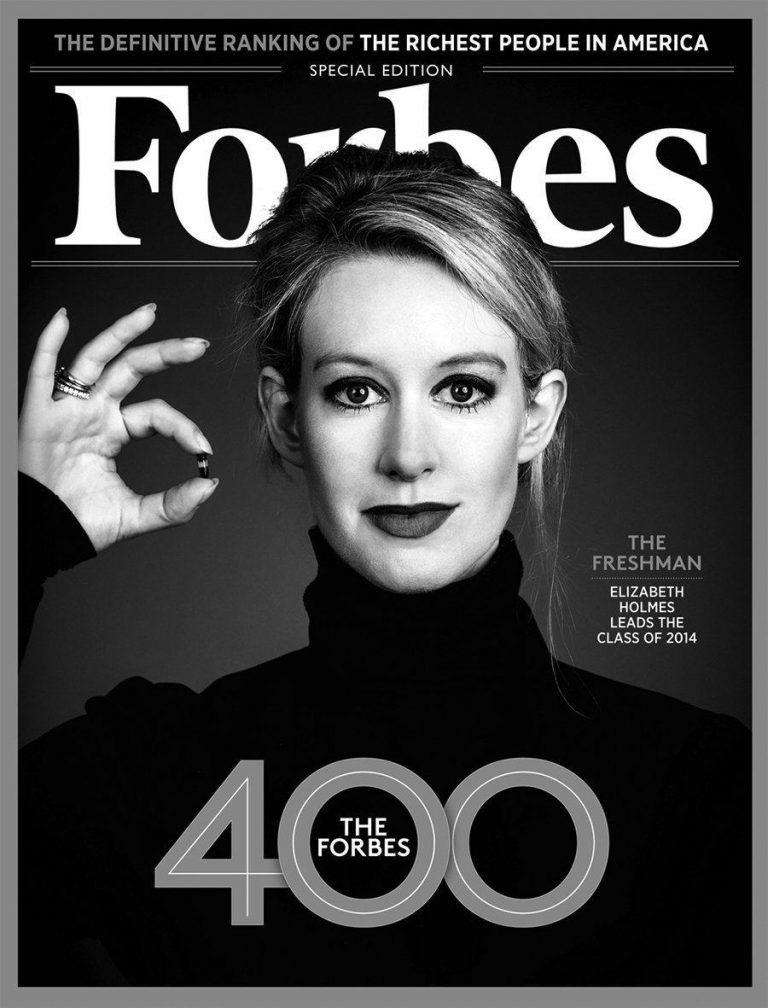 Elizabeth Holmes na capa da Forbes em preto e branco