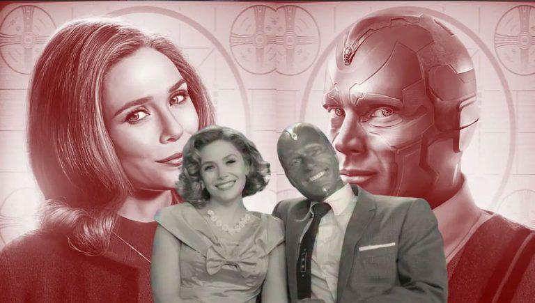 Wanda e Visão na série.