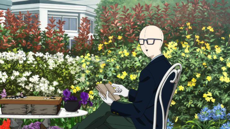 Acca sentado em um jardim, lendo um livro, com um tabuleiro de um jogo a sua frente