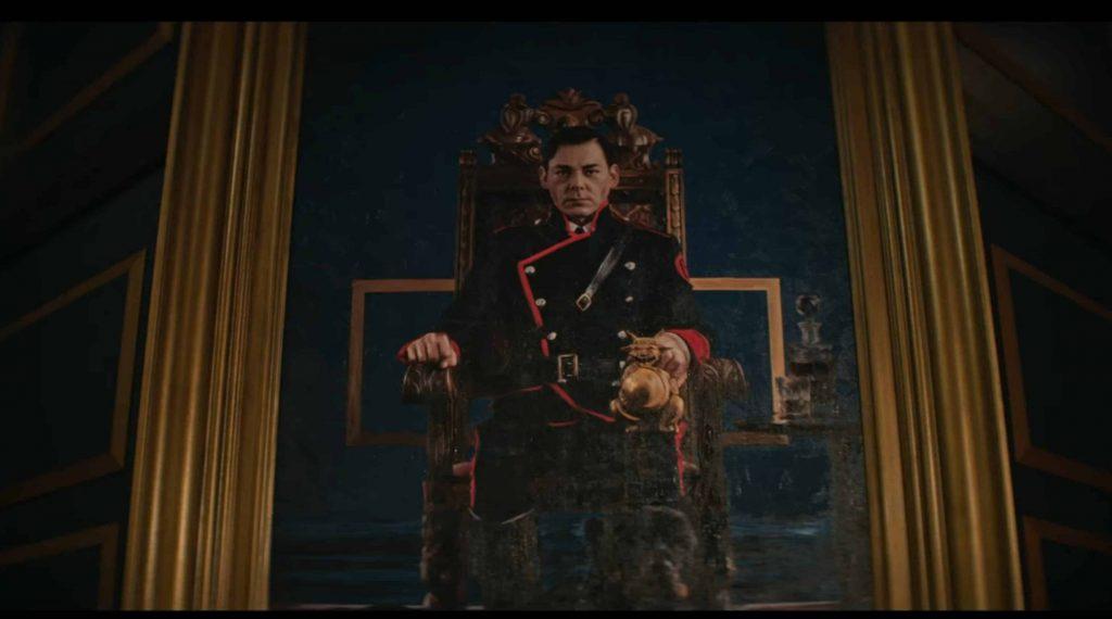 Imperador Blackwood em uma pintura sentado em seu trono