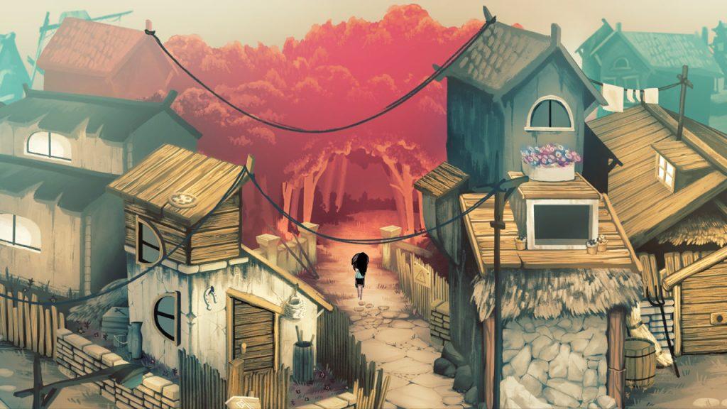 Imagem do jogo Children of silentown mostrando uma cidade na frente de uma floresta