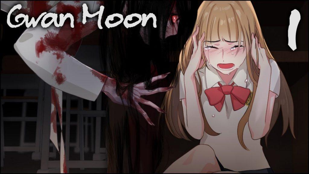 Imagem do jogo Gwan Moon com uma garota assustada sendo assombrada por um demônio
