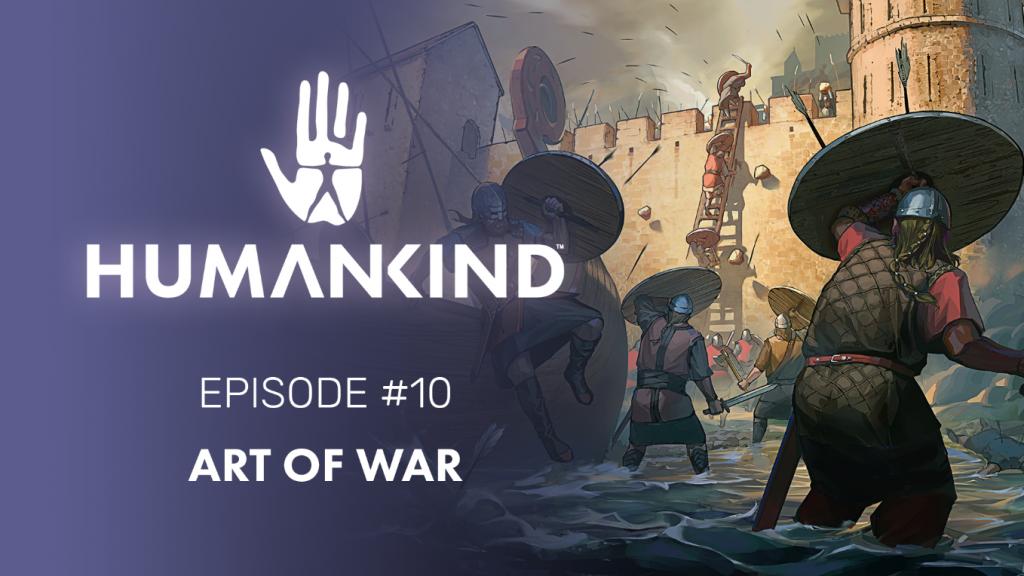 Poster do jogo Humankind - Cavaleiros tentam invadir fortaleza, enquanto se protegem de flechas com escudos. Otageek