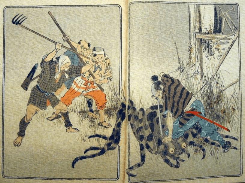 A imagem mostra scan de uma ilustração em um livro com homens atacando uma Jorōgumo Li'l Spider Girl