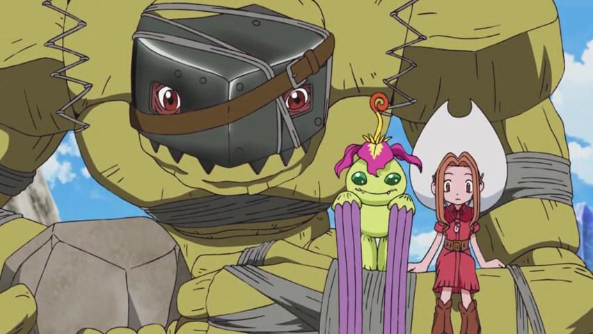 Golemon carregando Mimi e Palmon