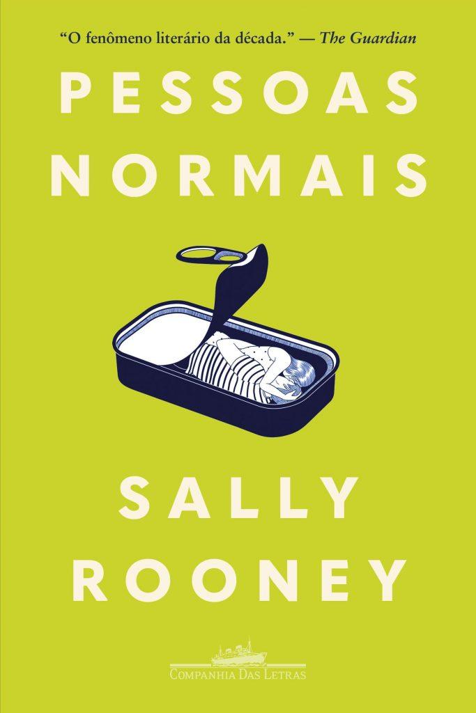 Capa do livro 'Pessoas Normais', um fundo verde com um casal se abraçando em uma lata de sardinha. Otageek