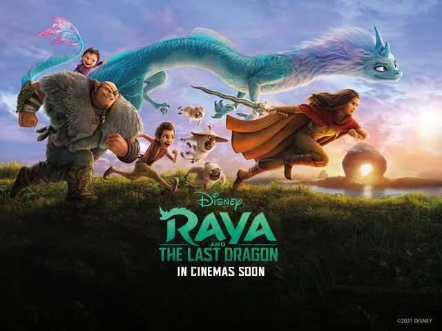poster oficial de Raya e o Último dragão, com todos os personagens do grupo de Raya
