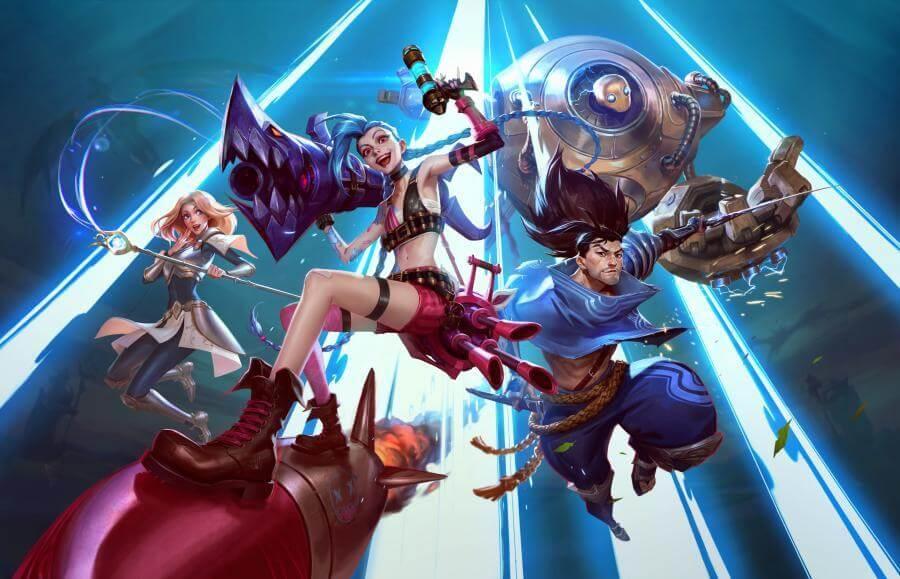 Os campeões Blitzcrank, Lux, Yasuo e Jinx aparecem num fundo azul, prontos para a batalha - Otageek