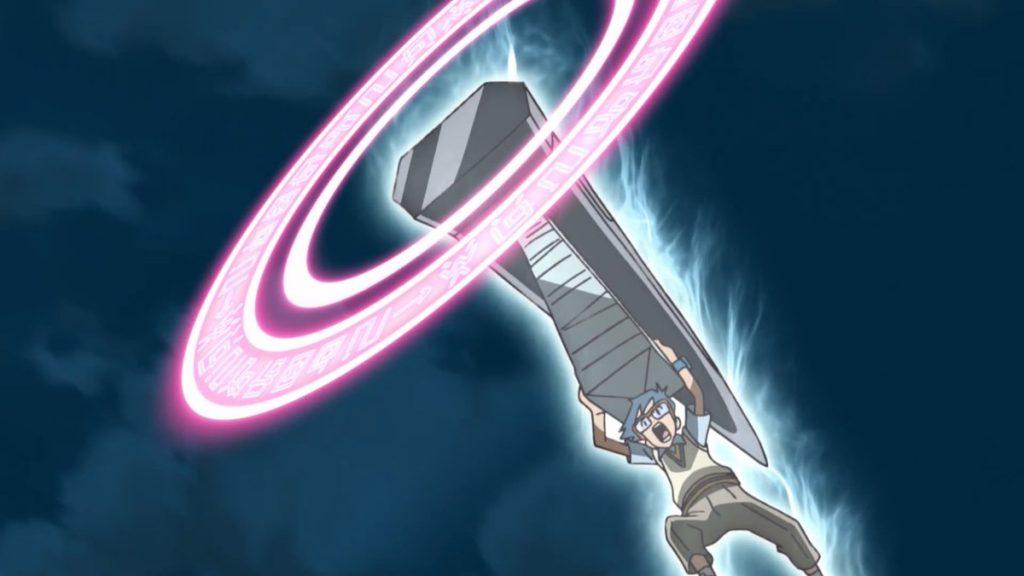 Joe segurando o Hammer Spark de Zudomon em Digimon Adventure
