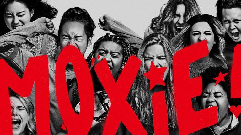 Poster do filme Moxie: Quando as Garotas Vão a Luta, Grupo de adolescentes gritando Otageek