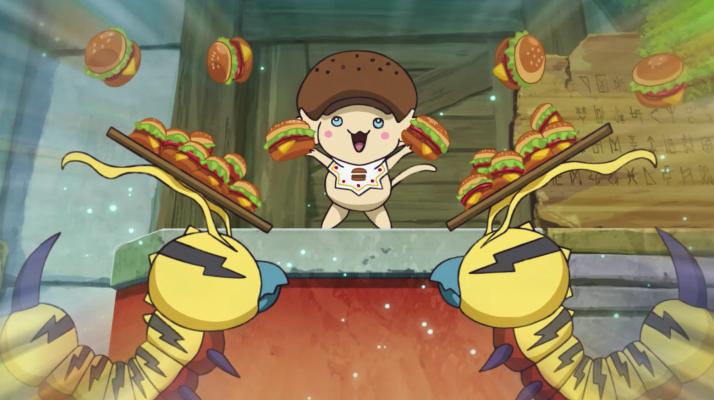 Burgamon e Kunemons distribuindo sanduiches em Digimon Adventure: