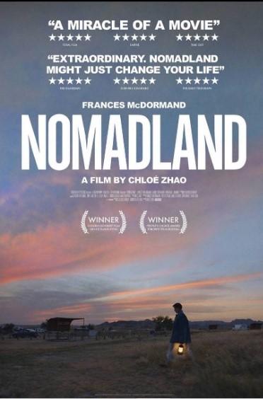 Pôster oficial de Nomadland de Chloé Zhao.